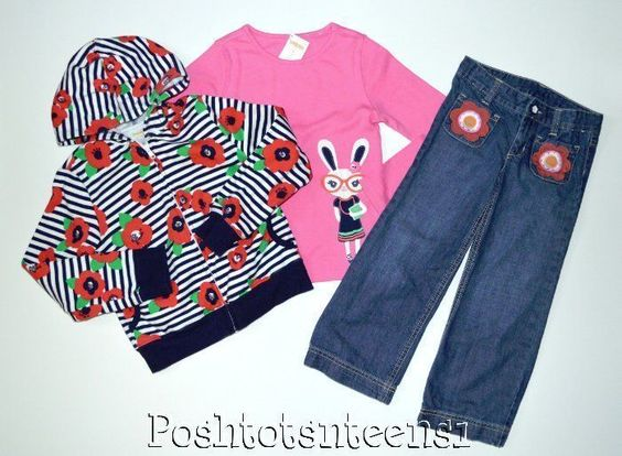 Gymboree Brightest in Class Floral Hoodie Bunny Top Jeans Set 6 5t EUC sl1-3 #Gymboree