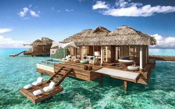 Überwasser-Bungalows Karibik Luxus-Resorts