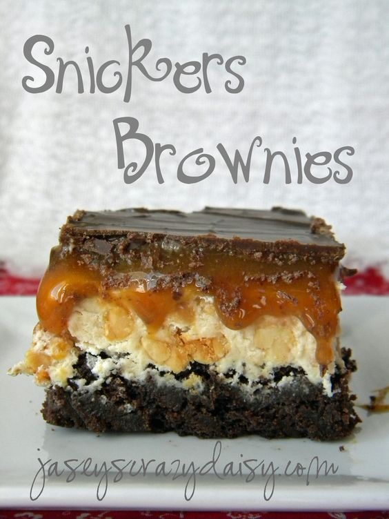 Snickers Brownies-- these look wonderful!  I just don't know how hard this would be to make.  I wonder if you could take Butter Pecan Ice Cream for the center!!