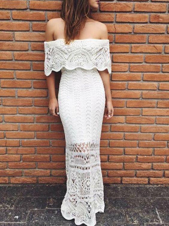 vestido de crochê longo branco - vestidos revanche