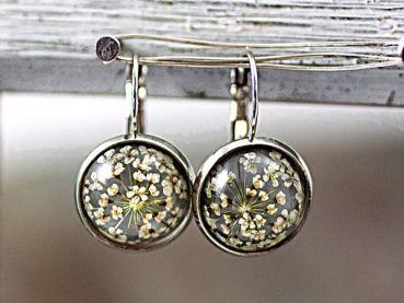 Real flower earrings SILVER GREY