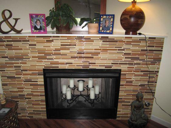 Glass Tile Fireplace Tile Fireplace And Glass Tiles On