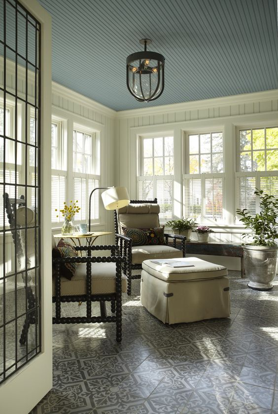 Provocative Beadboard Ceilings for Home Interior Design: Sunroom With Sunroom Windows And Wall Paneling Plus Beadboard Ceilings And Pendant Light With Ottoman And Floor Lamp Also Tile Flooring