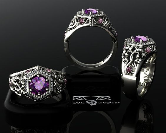 unique engagement ring radiant orchid pink purple