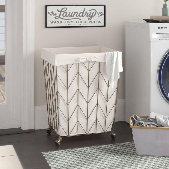 Gracie Oaks Coastal Decorative Rolling Laundry Hamper Reviews
