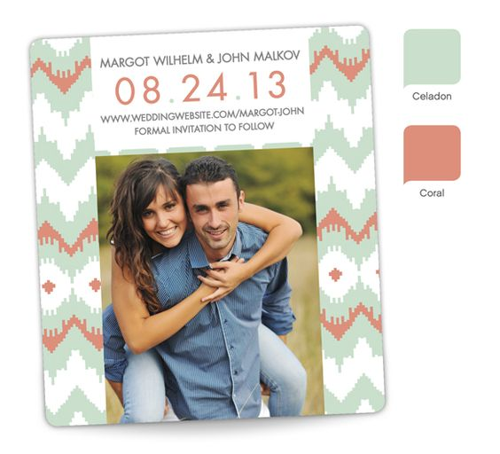 """""""Bohemian iKat"""" Save the Date magnet - personalized in Celadon and Coral."""