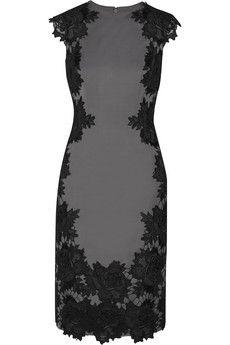 Lela Rose Guipure lace-appliqu�d crepe dress   THE OUTNET