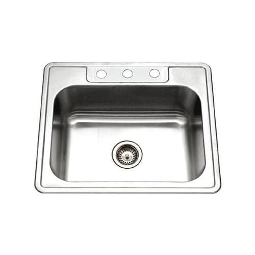 Houzer Glowtone Drop In 22 In X 25 In Stainless Steel Single Bowl 4 Hole Kitchen Sink Lowes Com In 2021 Single Bowl Kitchen Sink Kitchen Sink Sink