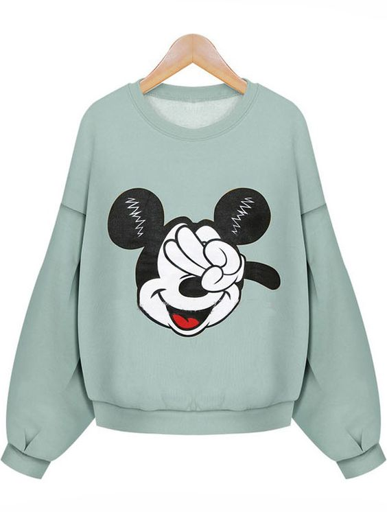 Mickey Print Loose Green Sweatshirt: