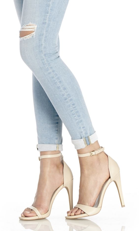 Minimalist leather strappy high-heeled sandals in cream | Tattoos ...