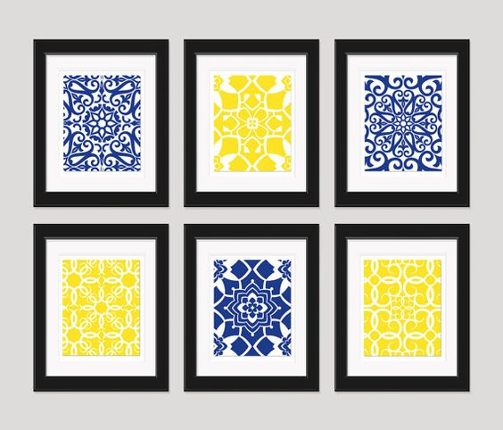 Bathroom navy yellow wall art blue yellow art home for Blue and yellow bathroom sets