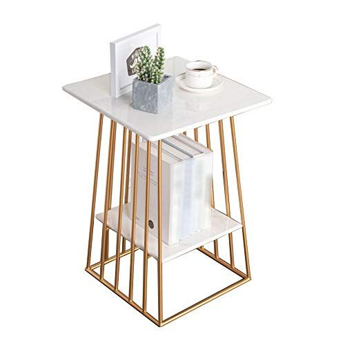 Xiaoyan End Table Nordic Living Room Sofa Side Table Marble Counter Top 2 Tier Small Square Fo Square Marble Coffee Table Gold Coffee Table Marble Coffee Table
