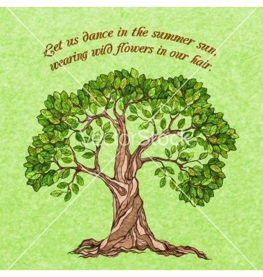 Summer tree poster vector by macrovector on VectorStock®
