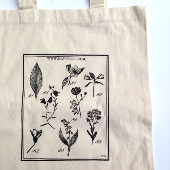 this is a simple tote, screen printed with my botanical illustrations on a natural light cotton material.