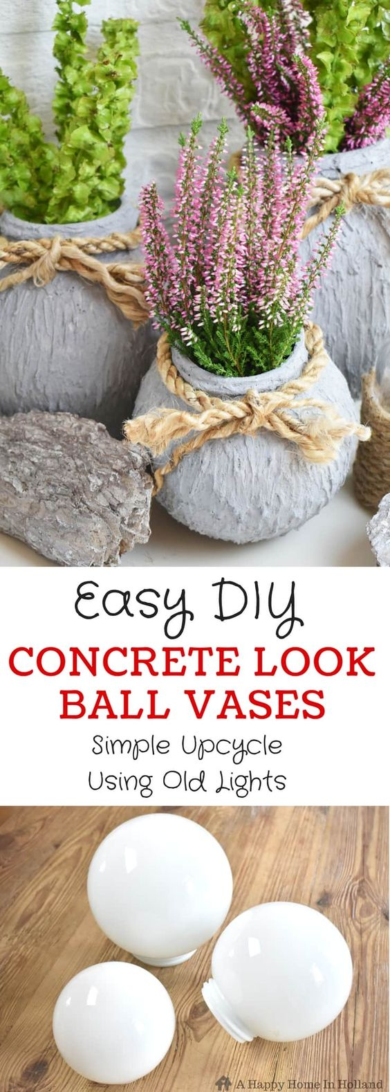 Easy DIY Concrete Look Ball Vases