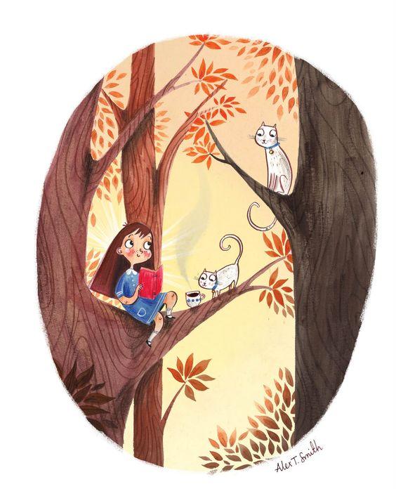 Girl, kitties in tree, Alex T. Smith