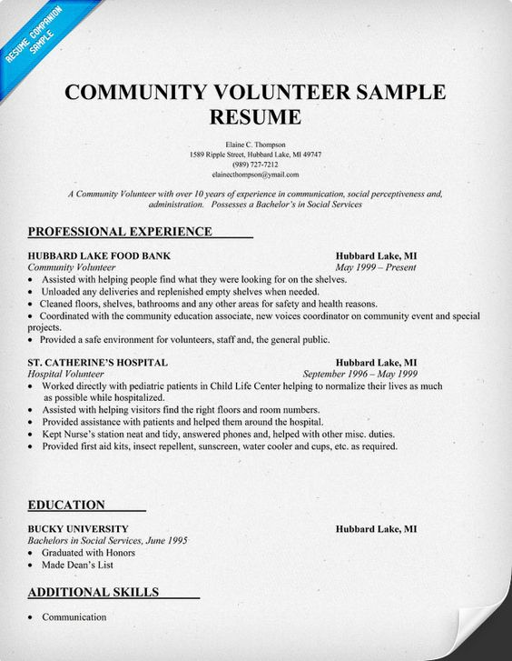 Community Volunteer Resume Sample Volunteer Pinterest