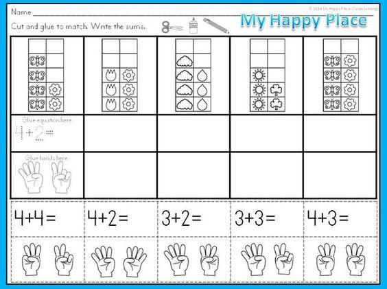 Spring Math – Cut and Paste Math Worksheets for Kindergarten