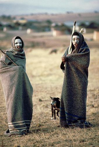 Africa | Adolescents from Pondoland in Transkei. Their faces are painted white and they are swathed in blankets as part of puberty rights. | © United Nations Photo