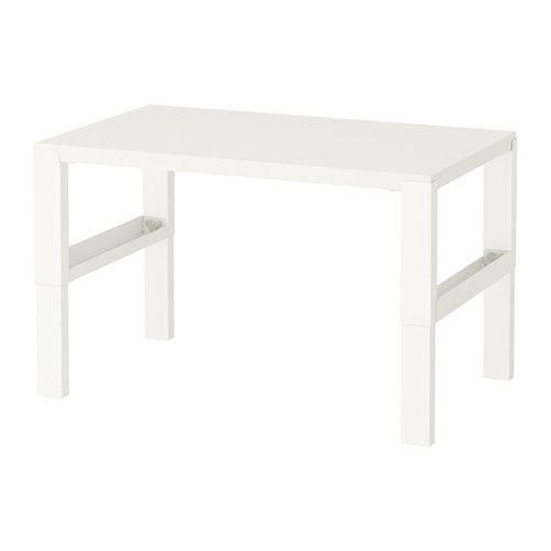 IKEA - PÅHL, Schreibtisch, weiß, , Dreifach höhenverstellbar - wächst mit dem Kind.Der Schreibtisch lässt sich durch Knöpfe an den Beinen mühelos in drei verschiedene Höhen einstellen (59, 66 oder 72 cm).In den Fächern zwischen den vorderen und rückwärtigen Schreibtischbeinen lassen sich Kabel und Mehrfachsteckdosen ordentlich unterbringen.