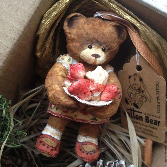 """Купить Коллекция """"Времена года"""" - подарки на новый год, елочная игрушка из ваты, коллекционные медведи"""