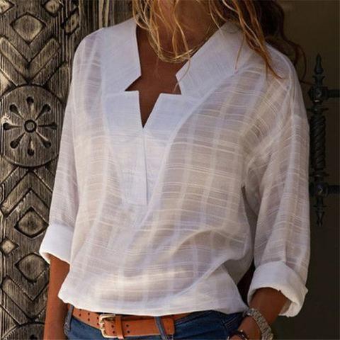 Venusfox V Neck Women S Linen Long Sleeve Shirt Spring Shirts Women Womens Shirts Spring Shirts