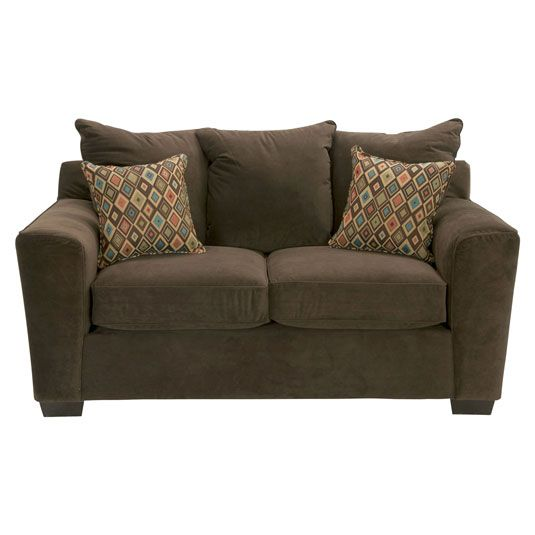 The Connery is a flawless contemporary loveseat in a soft bella fabric. Premium density foam and sinuous spring seating makes for long lasting comfort. Designer accent pillows have eye catching patterns adding style to any room. Features
