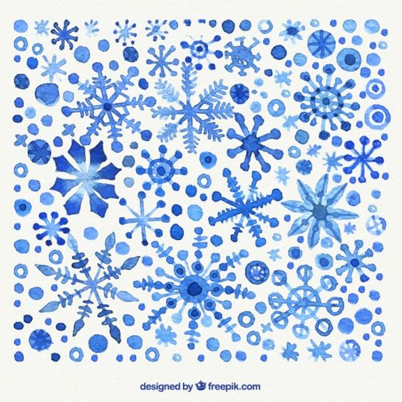 Hand painted snowflakes background Free Vector