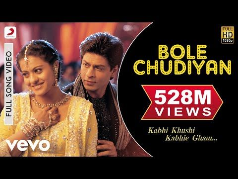 Bole Chudiyan Full Video - K3G|Amitabh, Shah Rukh, Kajol, Kareena,  Hrithik|Udit Narayan - … in 2020 | Bollywood music videos, Bollywood movie  songs, Shahrukh khan and kajol