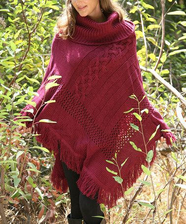 Another great find on #zulily! Wine Crochet Poncho #zulilyfinds