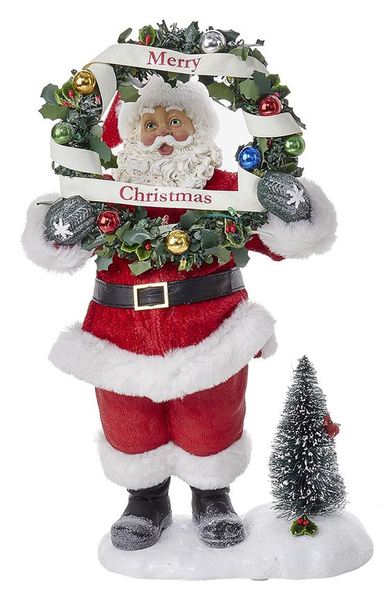 Fabriché Battery-Operated Santa Holding Wreath