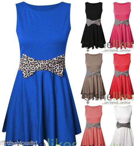 Womens Skater Dress Ladies Sleeve Less Animal Print Bow Contrast Party Dresses