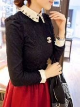 Black Rivet Lapel Long Sleeve Mesh Yoke Lace T-Shirt $36.45