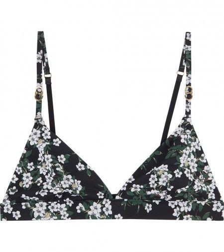 Stella McCartney Lingerie Stella Smooth Print Soft Cup Bra in Black Japanese Blossom Print