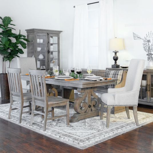Hacienda Dining Table2 Upholstered Side Chairs2 Host Chairs1 Bench100 Solid Wood Two 16 Butterfl Grey Dining Room Dining Room Furniture Sets Dining Room Sets