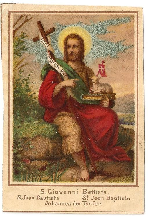 St. John the Baptist with Cross & Lamb Antique Vintage Italian ...