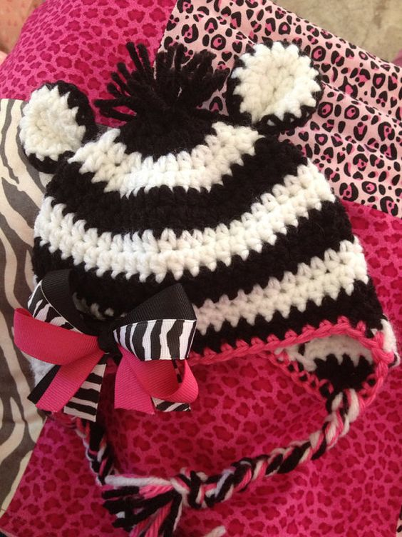 Knitting Pattern For Zebra Hat : Zebra crochet hat by PattyCakesCrochet on Etsy My crochet Pinterest Pat...