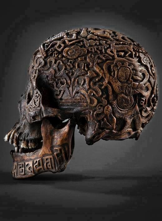 300 year old Tibetan carved skull