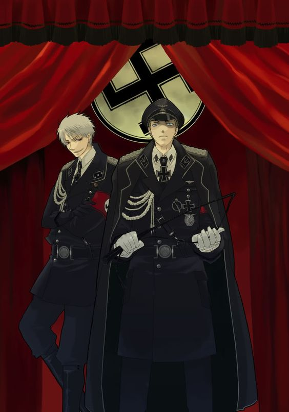 hetalia Nazi Germany and Prussia<<< I don't think Prussia would be smiling. He'd probably be so, so sad that his little brother turned down this path.