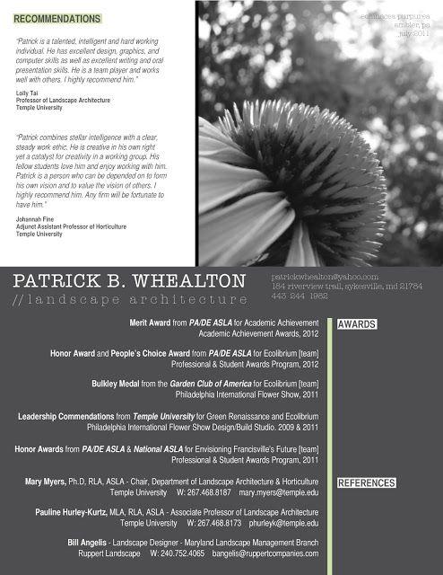 patrick b whealton landscape architecture resume portfolio landscape architecture resume - Landscape Architect Resume