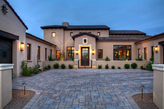 Stucco exterior spanish and home on pinterest for Mediterranean house features