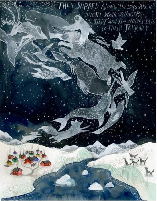 The Long Arctic Night by Diana Sudyka, animals, Northen Lights, stars, snow
