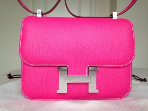 cheap birkin bag - Authentic Brand New Hermes Constance Bag in Rose Tyrien Epsom ...