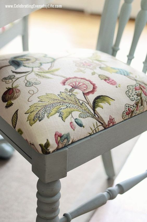 Step-by-step instructions on recovering a chair! Dining room chair in Annie Sloan Chalk Paint in Duck Egg and Chair cushion in P. Kaufmann Brissac in Jewel