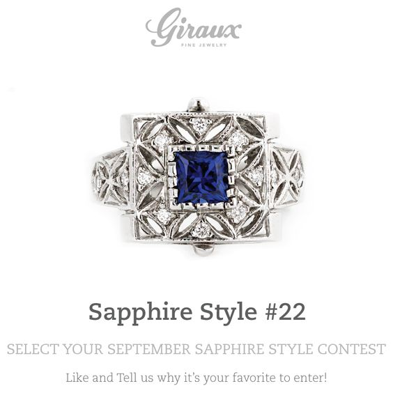 A little art deco inspiration with this beautiful, unique sapphire ring!  // @gfinejewelry