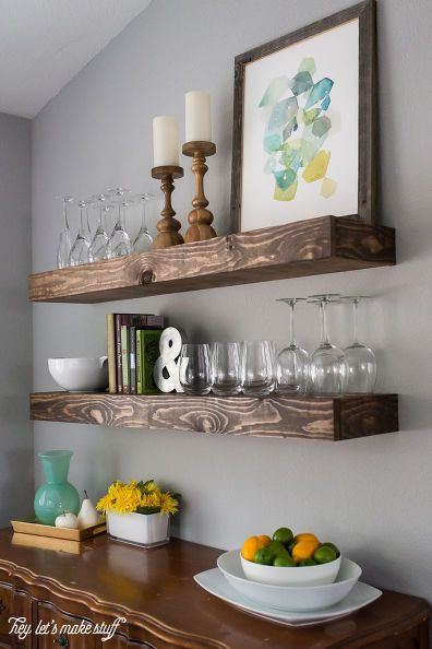 Dining Room Storage With Floating, Wall Shelves Design For Dining Room