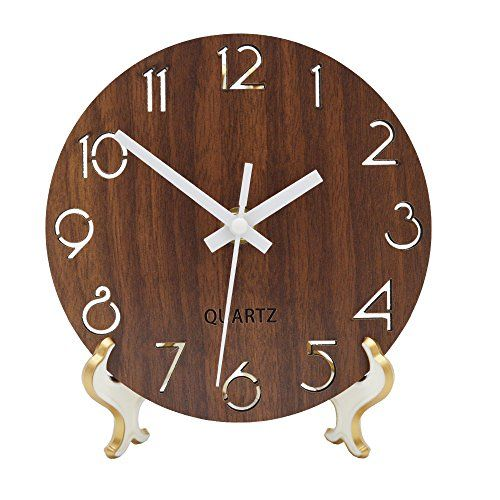 Jomparis Rustic Country Tuscan Style Wooden Wall Clock Silent Non Ticking Battery Operated Small Decor Round Wall Clock 6 Inch