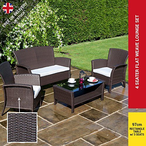 billyoh rosario flat weave rattan garden furniture modern 4 seat lounge set including cushions rattan garden furniture garden furniture and rattan