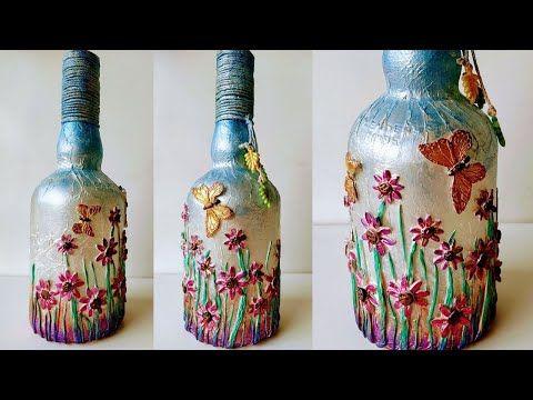 Bottle Art Bottle Decoration Ideas Home Decor Ideas Youtube In 2020 Bottles Decoration Bottle Art Glass Bottles Art