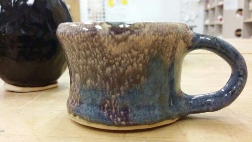 Wheel thrown cup, blue stain, can't engender glaze